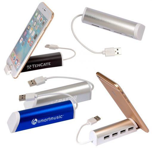 Aluminum 4-Port USB Hub w/Phone Stand