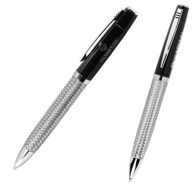 Twist Action Ballpoint Pen w/Woven Steel Barrel