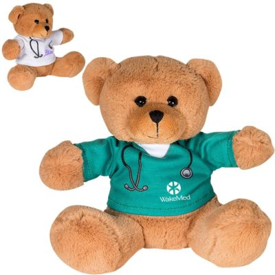 "7"" Doctor or Nurse Plush Bear with T-Shirt"