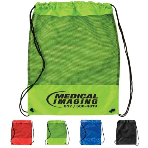Mesh Panel Drawstring Backpack Bag