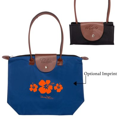 Folding Tote Bag w/Leather Flap Closure