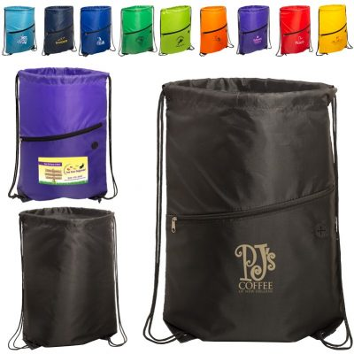 Incline Drawstring Backpack w/Zipper