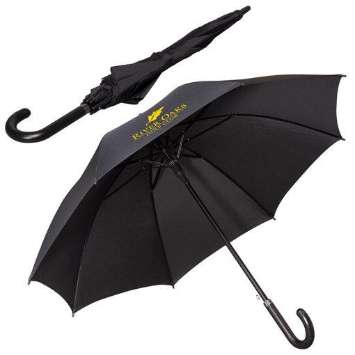"LEEMAN™ 48"" Executive Umbrella w/Curved Faux Leather Handle"