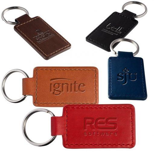 Tuscany™ PU Leather Rectangle Key Ring