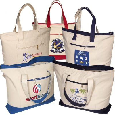 Zippered Cotton Boat Tote