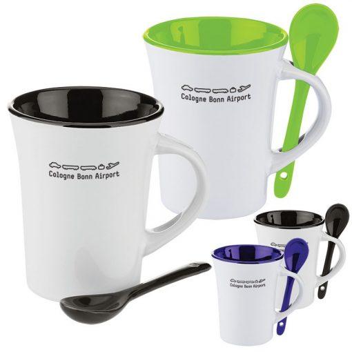 10 Oz. Two-Tone Ceramic Mug w/Matching Spoon
