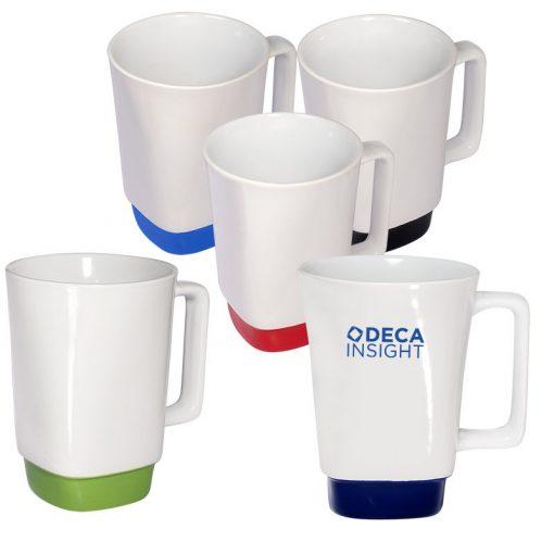 16 Oz. Stoneware Mug w/Square Color Base