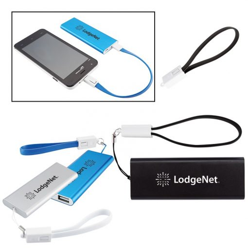 Slim Aluminum Power Bank Charger w/Micro USB Cable Wrist Strap
