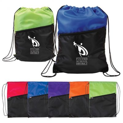 Two-Tone Poly Drawstring Backpack w/Zipper Front Pocket