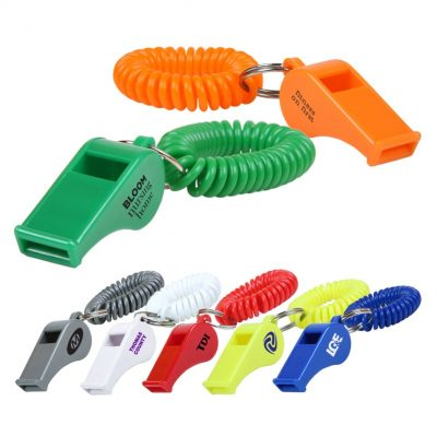 Whistle Key Chain w/Coil Wristband