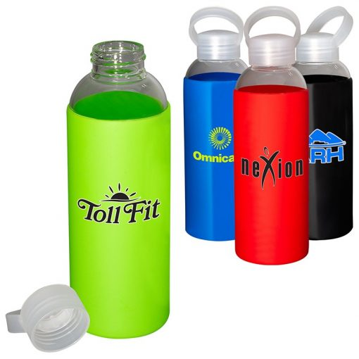18 Oz. Glass Bottle w/Color Silicone Sleeve