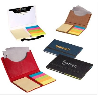 Business Card Sticky Pack w/Microfiber Cleaning Cloth