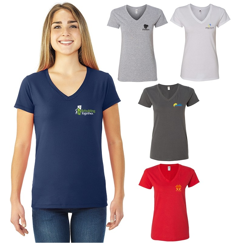 52a96b50 Ladies Fruit of the Loom® Sofspun® Junior Fit V-Neck T-Shirt | Prime ...