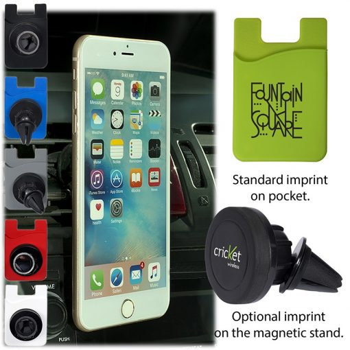 Magnetic Auto Phone Holder w/Phone Pocket