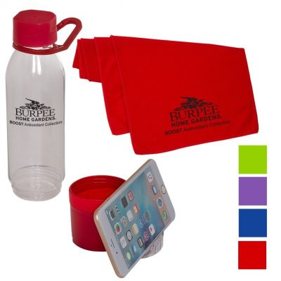Multi-Functional Water Bottle/Phone Stand w/Cooling Towel