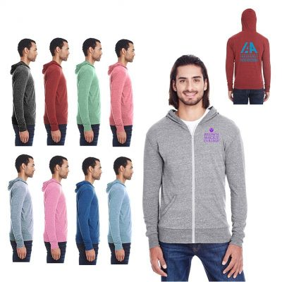 Unisex Threadfast Apparel Triblend Full-Zip Light Hoodie