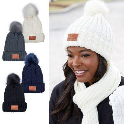 Leeman™ Knit Beanie with Fur Pom Pom