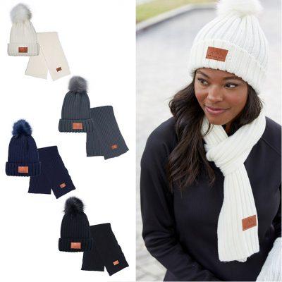 Leeman™ Ribbed Knit Winter Duo Beanie & Scarf