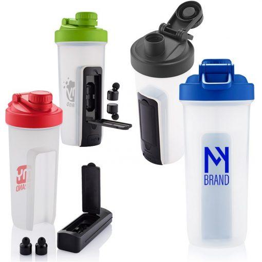 20 Oz. Shaker Fitness Bottle w/Wireless Earbuds