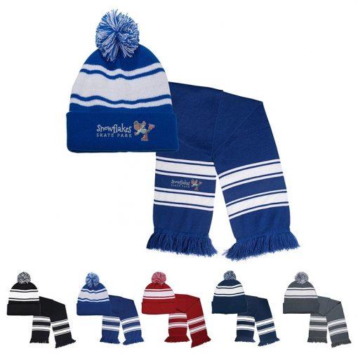 Knit Stripe Comfy Beanie/Scarf Combo