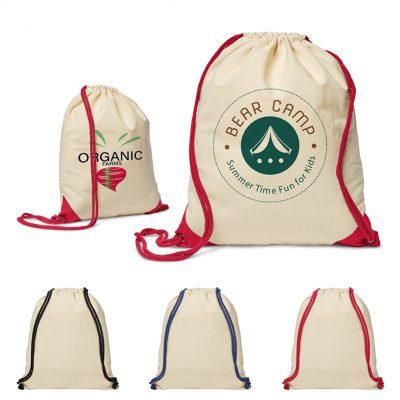 5 Oz. Cotton Ridge Accent Corner Drawstring Backpack