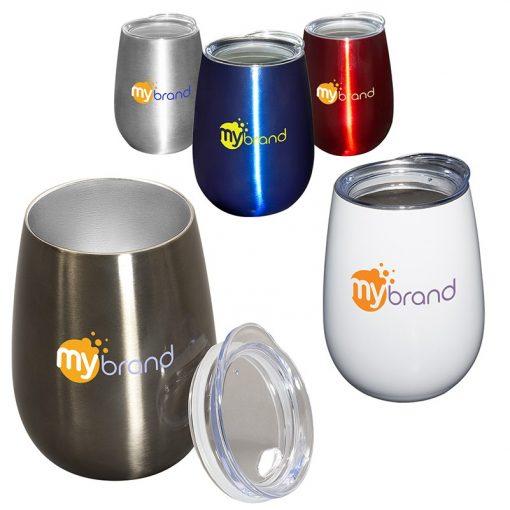 10 Oz. Stemless Vacuum Wine Cup w/Lid