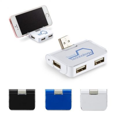 4-Port USB Hub w/Phone Holder