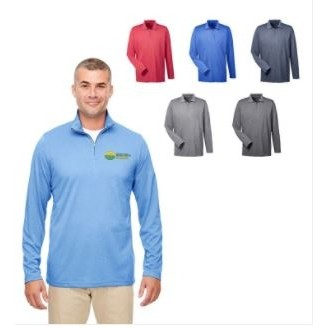 Ultraclub® Men's Cool & Dry Heathered Performance ¼-Zip Shirt