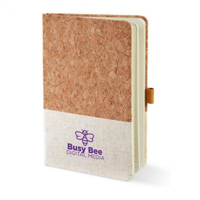 "5"" x 7"" Hard Cover Cork & Heathered Fabric Journal"