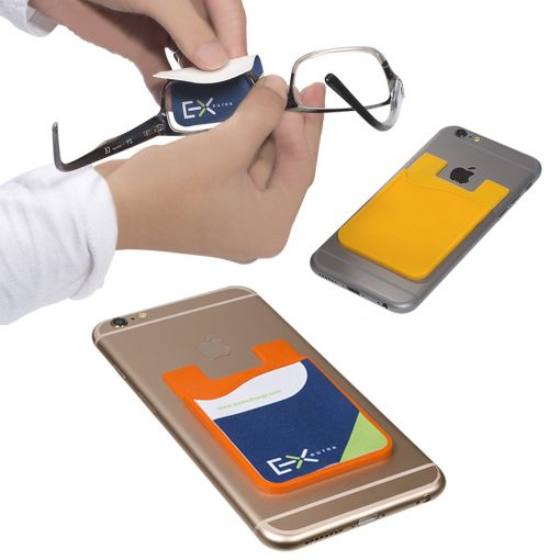 Silicone Phone Wallet w/Screen Cleaner Sublimated/Epoxy (Overseas Direct)