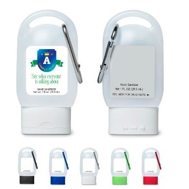 1 Oz. Hand Sanitizer in Carabiner Bottle