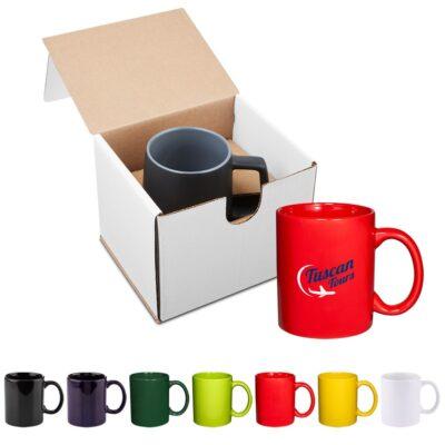 11 Oz. Basic C Handle Ceramic Mug Gift Set