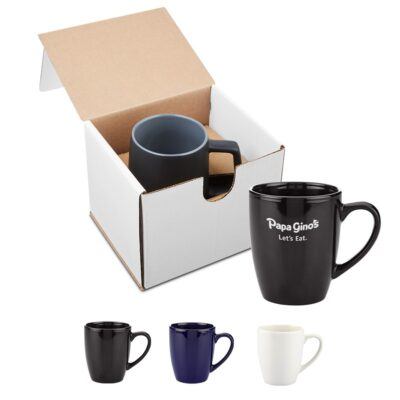12 Oz. Contemporary Challenger Cafe Ceramic Mug Gift Set