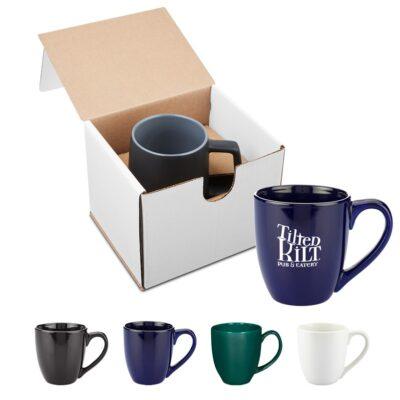 15 Oz. Bistro Style Ceramic Mug Gift Set