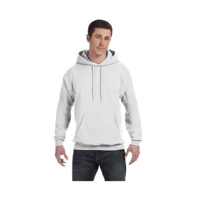 Hanes® Unisex 7.8 Oz. Ecosmart® 50/50 Pullover Hooded White Sweatshirt