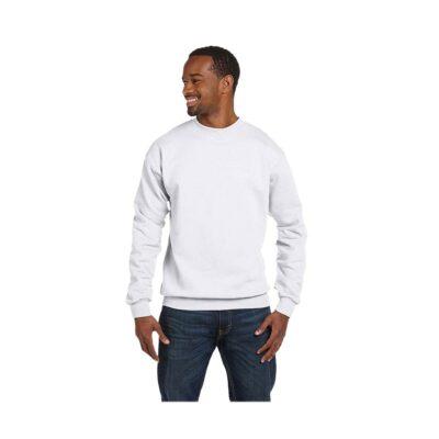 Hanes® Unisex 7.8 Oz. Ecosmart 50/50 White Crewneck Sweatshirt