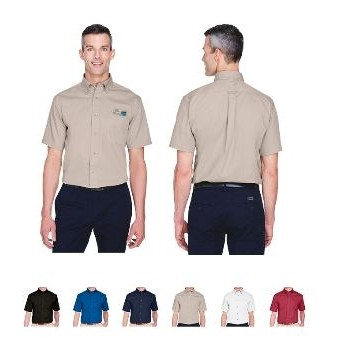 Harriton® Men's Easy Blend Short Sleeve Twill Shirt w/Stain Release
