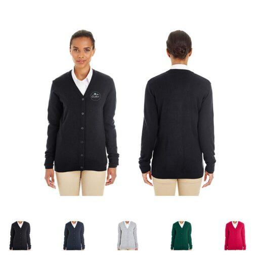 Harriton® Pilbloc™ Ladies' V-Neck Button Cardigan Sweater