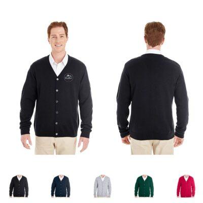 Harriton® Pilbloc™ Men's V-Neck Button Cardigan Sweater