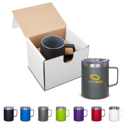 12 Oz. Vacuum Insulated Coffee Mug with Handle in Individual Mailer