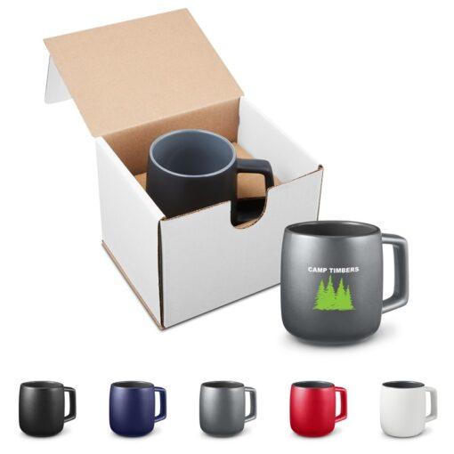 15 Oz. Geo Square Handle Ceramic Mug in Individual Mailer