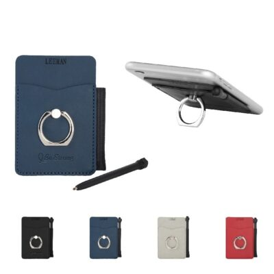 Tuscany™ Card Holder w/Metal Ring Phone Stand & Stylus